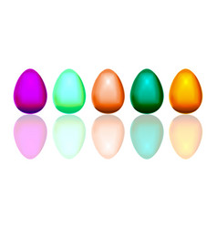 several realistic colored easter eggs with shadows vector image