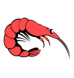 shrimp icon cartoon vector image