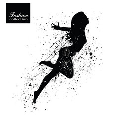 Silhouette of the fashionable woman with paint vector