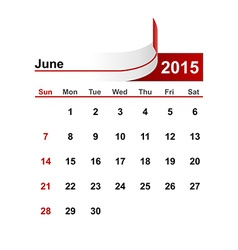 simple calendar 2015 year june month vector image