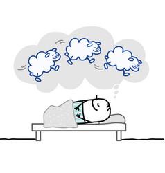 Sleeping man nice dream vector