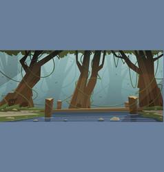 Small wooden bridge in the woods vector