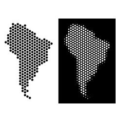 South america map hex-tile scheme vector