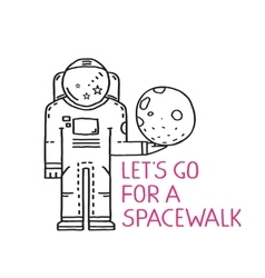 Spacewalk Astronaut Line Art Romantic vector