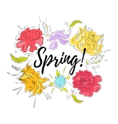 Spring flowers card vector