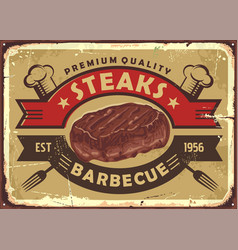 steak house old sign design vector image
