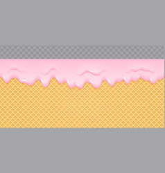 Strawberry cream melted on wafer background ice vector