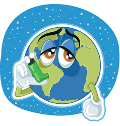 Suffering planet earth cartoon ecology conc vector