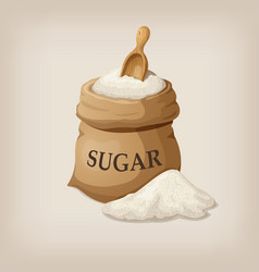sugar with scoop in burlap sack vector image