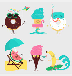 summer sweets color ice cream fruit and donuts vector image
