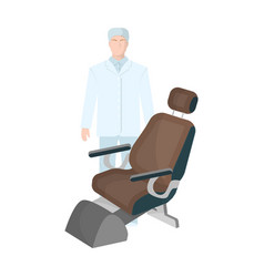 The doctor is a dentist in a white dressing gown vector