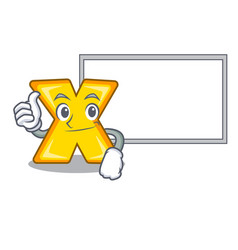 Thumbs up with board character cartoon multiply vector