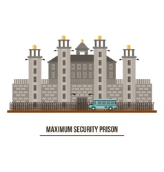 Towers and fence at maximum security prison vector