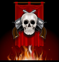 Vintage image with skull and two guns on red vector