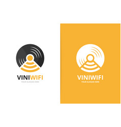 vinyl and wifi logo combination record and vector image