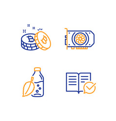 water bottle gpu and bitcoin icons set approved vector image