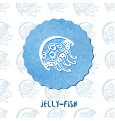 Watercolor medusa jelly fish doodle icon on vector