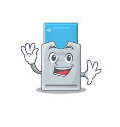 Waving friendly key card cartoon character design vector