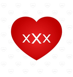 XXX sign on heart vector image