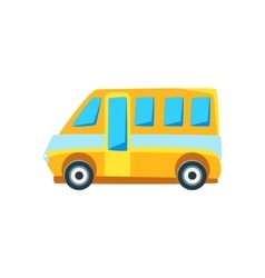 Yellow Mini Van Toy Cute Car Icon vector image