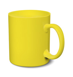 Yellow mug realistic 3d mockup on a white vector