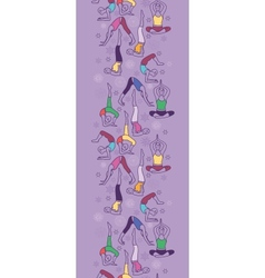 Yoga poses vertical seamless pattern background vector