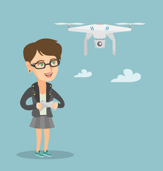 young caucasian woman flying drone vector image