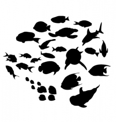 fish silhouettes collection vector image vector image