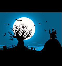 Halloween poster - haunted house and evil tree vector