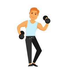 Fit man with dumbbells does exercises isolated vector
