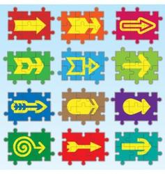puzzle arrows set vector image vector image