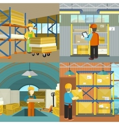 Set of warehouse workers characters at work vector image vector image