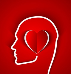 Human head contour with red heart vector image