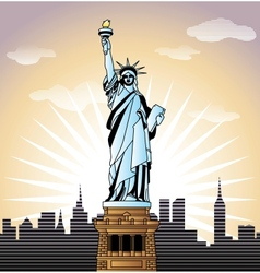 landscape with Statue of Liberty in New York vector image