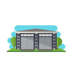 Modern storage building isolated icon vector