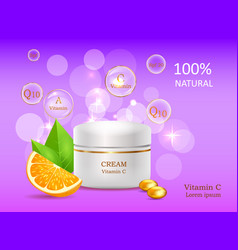 natural cream with vitamins coenzyme energizer vector image vector image