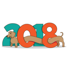 2018-year-of-dog-daschund vector