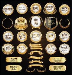 a golden collection various badges and labels vector image