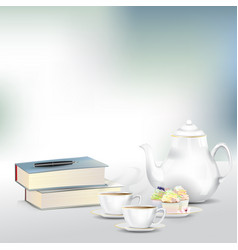 Afternoon tea or coffee set with books vector