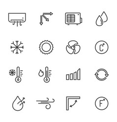 Air conditioning equipment linear icons set vector