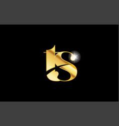 Alphabet letter ts t s gold golden metal metallic vector