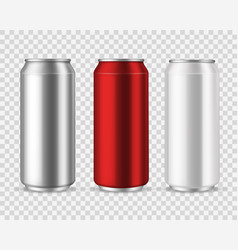 aluminum cans blank metal can drinks beverage vector image