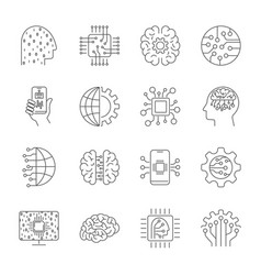 Artificial intelligence ai icon set simple vector