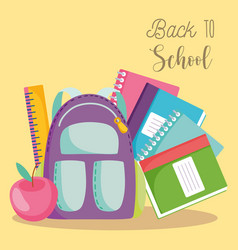 back to school backpack ruler books and apple vector image