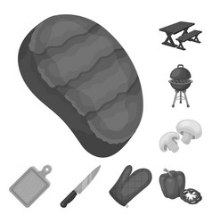 Barbecue and equipment monochrome icons in set vector