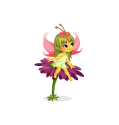 beautiful little flower fairy vector image