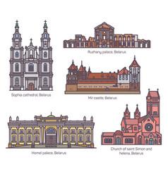 belarus or belarusian famous tourism landmarks set vector image