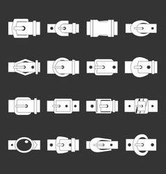 Belt buckles icons set grey vector