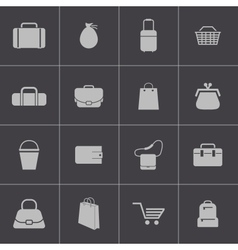 Black bagicons set vector