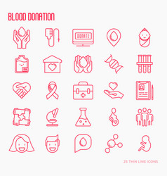 blood donation thin line icons set vector image